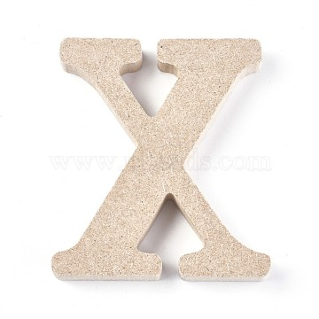 Letter Unfinished Wood Slices, Laser Cut Wood Shapes, for DIY Painting Ornament Christmas Home Decor Pendants, Letter.X, 100x89x15mm(DIY-WH0162-62X)