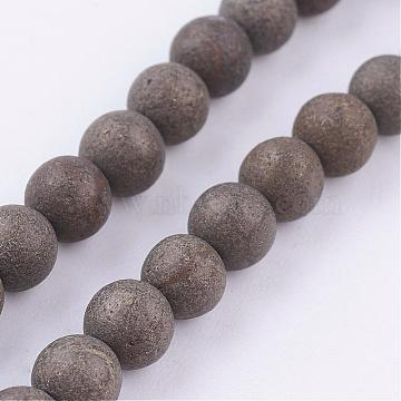 Natural Pyrite Beads Strands, Round, Frosted, 4mm, Hole: 1mm; about 45pcs/strand, 8 inches(G-P303-03-4mm-8)