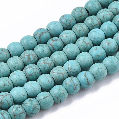4mm DarkTurquoise Round Synthetic Turquoise Beads
