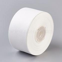 Rayon and Cotton Ribbon, Twill Tape Ribbon, Herringbone Ribbon, White, 2inches(50mm); about 50yards/roll(45.72m/roll)(SRIB-F007-000-50mm)
