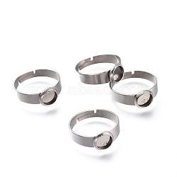 Adjustable 304 Stainless Steel Finger Rings Components, Pad Ring Base Findings, Flat Round, Stainless Steel Color, Tray: 6mm; 17.5mm(X-STAS-F149-18P-F)