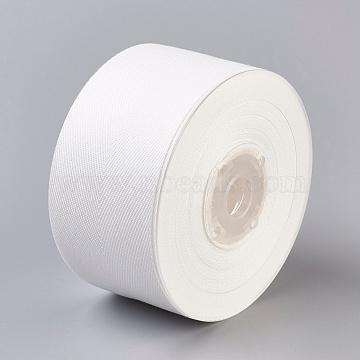 Rayon and Cotton Ribbon, Twill Tape Ribbon, Herringbone Ribbon, White, 2 inches(50mm), about 50yards/roll(45.72m/roll)(SRIB-F007-000-50mm)