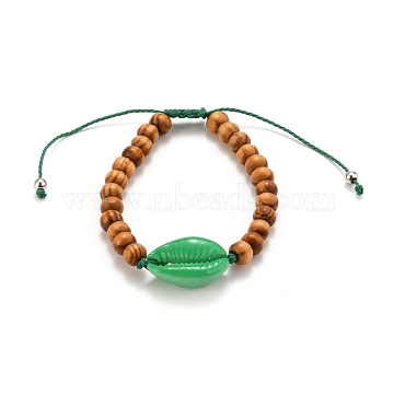 Kids Bracelets, Adjustable Waxed Polyester Cord Braided Bead Bracelets, with Natural Wood Beads, Spray Paint Cowrie Shell Beads and Brass Beads, Green, Inner Diameter: 1-7/8~3-1/2 inches(4.8~9cm)(BJEW-JB05747-04)
