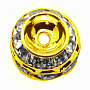 Brass Rhinestone Beads, Grade A, Golden Color, Clear, Barrel, about 10mm in diameter, 9mm long, hole: 1.5mm