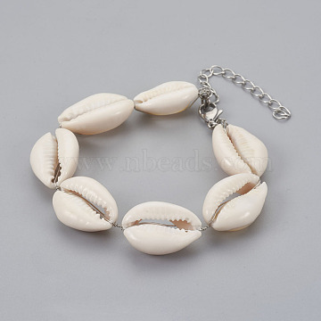 Cowrie Shell Bracelets, with 304 Stainless Steel Lobster Claw Clasps and Soldered Brass Curb Chains, Seashell Color, 7-1/4 inches(18.5cm)(BJEW-JB04070)