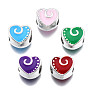 Mixed Color Heart Alloy+Enamel European Beads(MPDL-T005-002-RS)