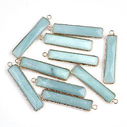 pendentifs amazonite naturelles, avec les résultats en laiton, facettes, teints, rectangle, or, 46.5x10x5 mm, trou: 2 mm(X-G-S344-23C)