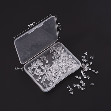 200Pcs Plastic Ear Nuts, Soft Clear Earring Backs Safety Bullet Clutch Stopper, Clear, Clear, 4x4mm, Hole: 1mm(FIND-YW0001-12)