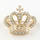 Crown Women's Light Gold Plated Alloy Rhinestone Brooches(X-JEWB-R011-13)-1