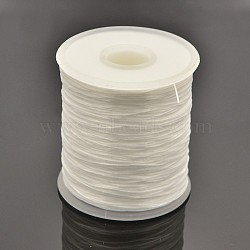Flat Elastic Crystal String, Elastic Beading Thread, for Stretch Bracelet Making, White, 0.5mm, about 500m/roll(EW-J002-0.5mm-13)