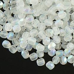 Perles de verre polies au feu tchèques, facette, tambour, blanc, 6x6mm, trou: 1 mm; environ 37 pcs / 10 g(X-GLAA-F100-D08)
