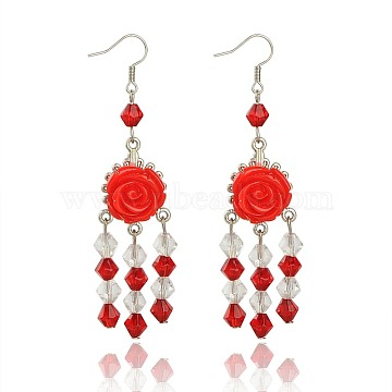 Red Iron+Resin Earrings