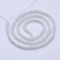 Glass Pearl Beads Strands, Pearlized, Round, White, Size: about 3mm in diameter, hole: 1mm, about 220~230pcs/str