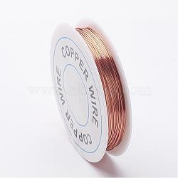 Copper Jewelry Wire, Brown, 26 Gauge, 0.4mm; about 15m/roll(X-CW0.4mm014)