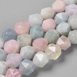 Chapelets de perles en morganite naturelle, diamant à facettes, rond, 9.5~10x9mm, trou: 1.5mm; environ 37~39 pcs/chapelet, 14.9''(G-S149-41-10mm)