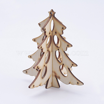 Wood Home Display Decorations, Christmas Tree, Blanched Almond, 103x95mm, Hole: 3mm, 2pcs/set(X-DJEW-L011-02)