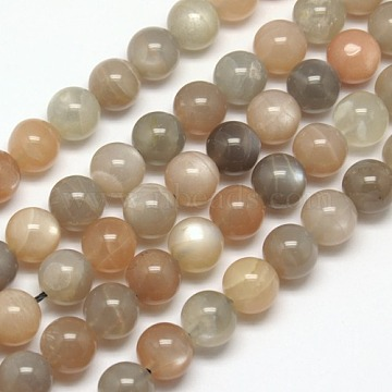 8mm LightGrey Round Moonstone Beads