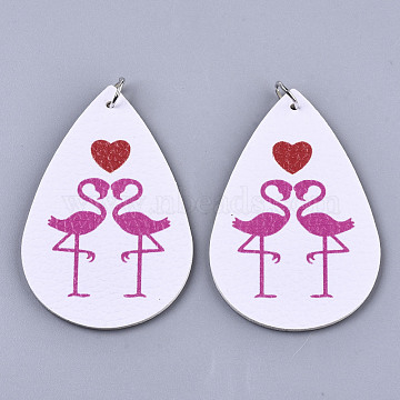 PU Leather Big Pendants, with Platinum Tone Iron Jump Rings, Teardrop with Flamingo Shape, White, 56x37x2mm, Hole: 5mm(FIND-R084-14)
