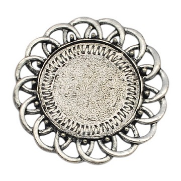 Metal Alloy Cabochon Settings, DIY Material for Hair Accessories, Nickel Free, Antique Silver, Round, 45x45x2mm, inner diameter: 29x29mm(X-PALLOY-A15624-AS-NF)