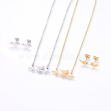 304 Stainless Steel Jewelry Sets, Stud Earrings and Pendant Necklaces, Bird, Mixed Color, Necklace: 18.9inches(48cm); Stud Earrings: 5x12x1.2mm; Pin: 0.8mm(SJEW-O090-25)