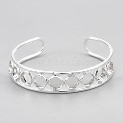 латунные манжеты браслет задатки, плоские круглые, серебро, лоток: 8 мм; 2-3 / 8 (6 см)(MAK-S071-01S)