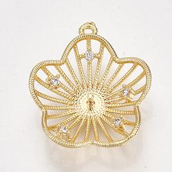 Pendentifs en forme de zircon cubique en laiton, pour perle à moitié percée, fleur, clair, véritable 18k plaqué or, 22x19x5mm, trou: 1 mm; broches: 1 mm(KK-S350-337)