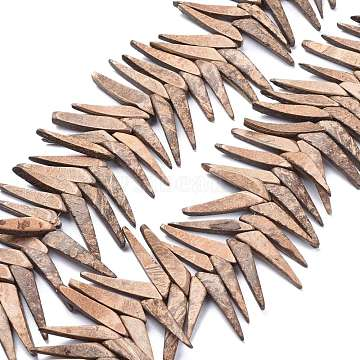 Natural Coconut Beads Strands, Top Drilled, Triangle, Coffee, 37.5~40.5x7.5~8.5x4.5mm, Hole: 1.2mm; about 80pcs/Strand, 15.35 inches(39cm)(COCB-K002-02)