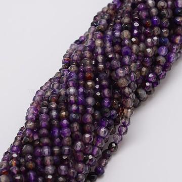 4mm DarkOrchid Round Natural Agate Beads