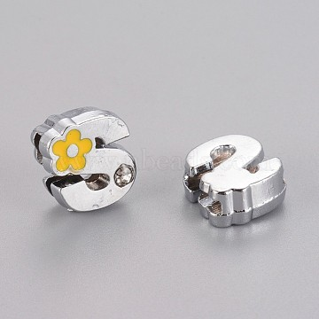 Alloy Rhinestone Slide Charms, with Enamel, Letter.S with Yellow Flower, Platinum Metal Color, 10x11x4.5mm, Hole: 2x8mm(X-ALRI-F003-04S)