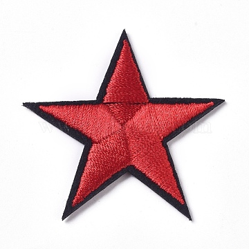 Computerized Embroidery Cloth Iron on/Sew on Patches, Costume Accessories, Appliques, Star, Red, 43.5x43.5x2mm(DIY-I016-21)