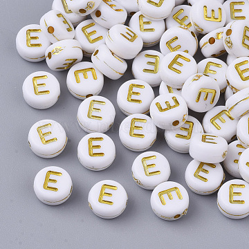 Plating Acrylic Beads, Golden Metal Enlaced, Horizontal Hole, Flat Round with Alphabet, White, Letter.E, 7x3.5mm, Hole: 1.2mm, about 360pcs/50g(X-PACR-R242-01E)