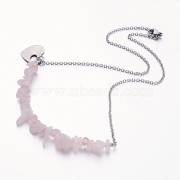 Rose Quartz Pendant Necklaces, with Stainless Steel Finding, 17.3 inches(X-NJEW-JN01706-01)