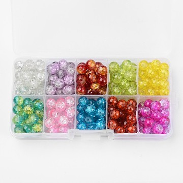 Spray Painted Transparent Crackle Glass Beads Strands, Round, Mixed Color, 8mm, Hole: 1.3mm; about 18~22pcs/compartment, 180~220pcs/box(CCG-X0005-B)