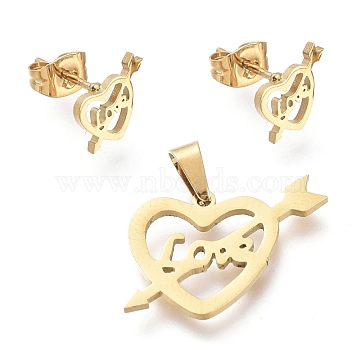 Valentine's Day 304 Stainless Steel Jewelry Sets, Pendants and Stud Earrings, with Ear Nuts, An arrow through a heart with Word Love, Golden, 15x20x1mm, Hole: 5x2.7mm; 7x9mm, Pin: 0.7mm(SJEW-K154-24G)
