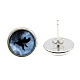 Picture Glass Stud Earrings(EJEW-O088-64)-2
