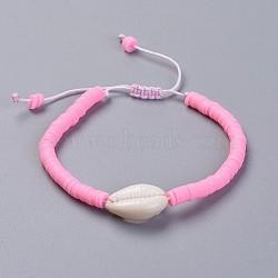 bracelets en argile de polymère faits main écologiques en pâte polymère, avec perles en nacre et cordon de nylon, rose, 1-7 / 8 / 2-7 8 cm)(BJEW-JB04317-03)