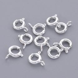 латунная застежка пружинного кольца, ювелирные изделия компонентов, серебряный цвет, 6 mm, отверстия: 1.5 mm(X-EC095-S)