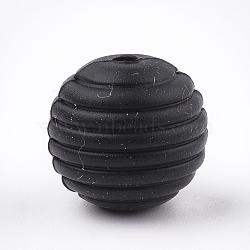 Экологические силиконовые бусины, жевательные бусины для чайников, DIY уход за ожерельем, круглые, чёрные, 15x14 мм, отверстие : 2 мм(SIL-T050-05G)