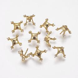 pendentifs en forme de zircon cubique en laiton, pour la moitié de perles percées, griffe, véritable plaqué or, 8.5x9 mm, trou: 1 mm; broches: 0.5 mm(KK-P075-35)