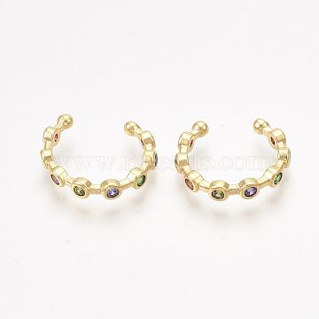 Brass Cubic Zirconia Cuff Earrings, Golden, Colorful, 14x3mm(X-EJEW-S201-183)