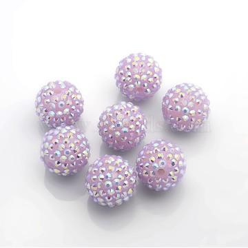 20mm Purple Round Resin + Rhinestone Beads