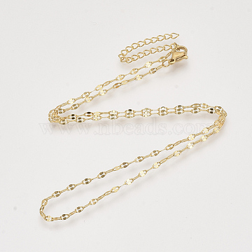 Brass Cable Chains Necklace Making, with Lobster Claw Clasps, Nickel Free, Real 18K Gold Plated, 16.4 inches(41.9cm), 2mm(X-KK-T048-037G-NF)