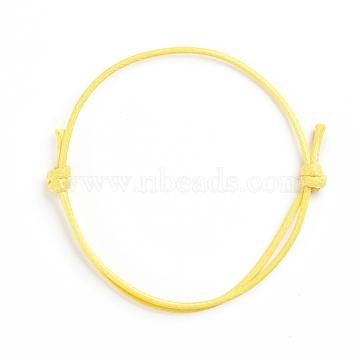 Korean Waxed Polyester Cord Bracelet Making, Yellow, Adjustable Diameter: 40~70mm(AJEW-JB00011-18)
