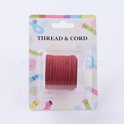 3x1.5 mm rouge faux plat daim cordon, dentelle de faux suède, environ 5 m / bibone (X-LW-R003-22)
