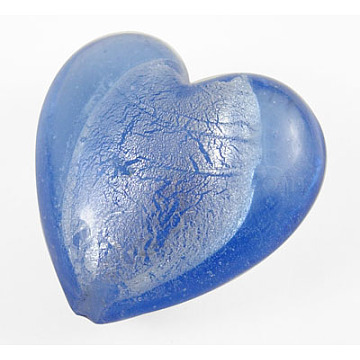 Handmade Silver Foil Glass Beads, for Mother's Day Gift Making, Heart, RoyalBlue, about 35mm wide, 35mm long, hole: 2mm(X-SLH35MM010Y)