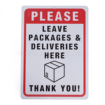 UV Protected & Waterproof Aluminum Warning Signs, Please Leave Packages and Deliveries Here Sign, Red, 350x250x1mm, Hole: 4mm(X-AJEW-WH0111-C04)