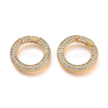 Brass Micro Pave Cubic Zirconia Spring Gate Rings, O Rings, Golden, Clear, 19.5x3mm, Inner Diameter: 12.5mm(KK-M206-03G-02)