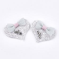 accessoires de costume de coton fait main, avec les résultats en alliage, coeur avec le mot amour, pour Saint Valentin, whitesmoke, 28~31x39x7~9 mm(X-FIND-T021-19C)
