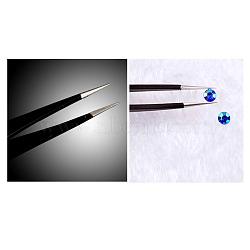 Pince à perle en acier inoxydable, nail art bricolage outils de cueillette, noir, 12.2 cm(MRMJ-R052-09A)