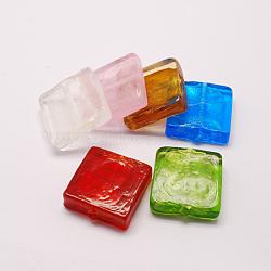 Perles vernissées de feuille en argent manuelles, carrée, couleur mixte, 20x20x6mm(X-FOIL-S006-20x20mm-M)